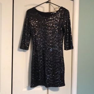 Never worn BB Dakota Black Sequin Dress 3/4 sleeve